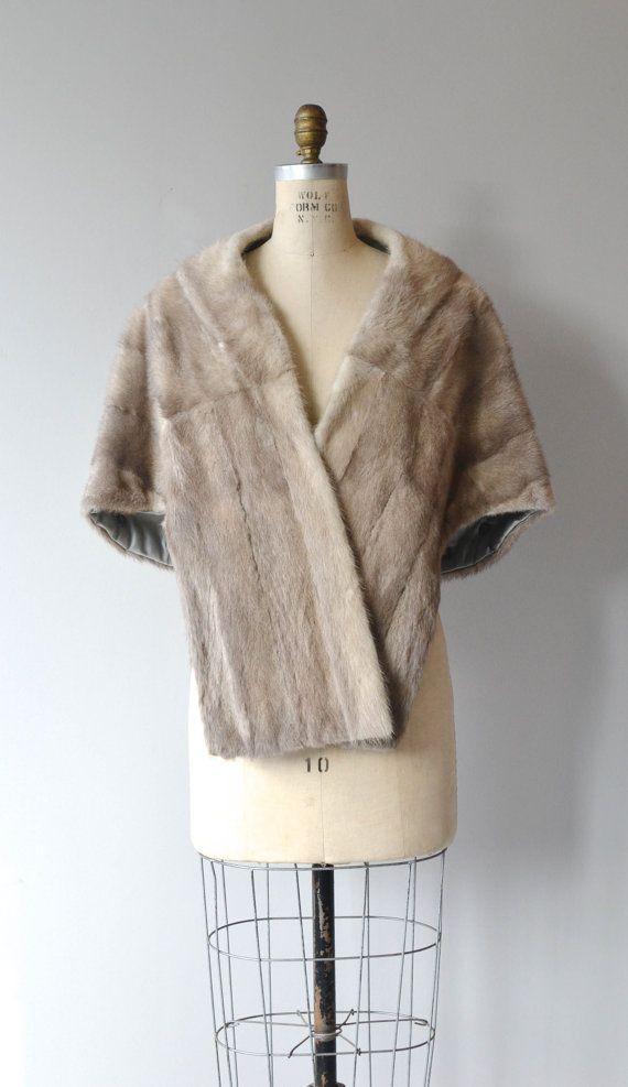 Avalon Mink stole grey 1950s fur cape vintage 50s by DearGolden