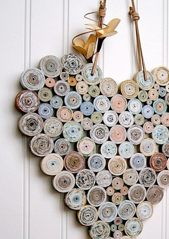 Recycled Coiled Paper Heart 12x12 Neutral by BlueTangDesigns