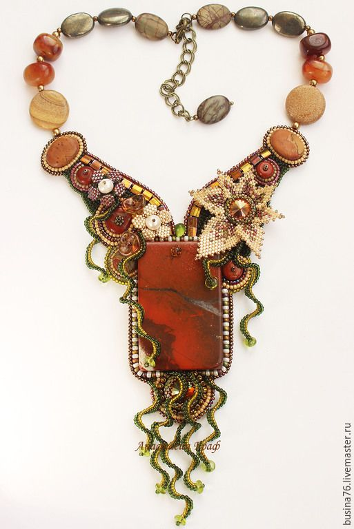 Купить Колье Маленькие дворики Кордовы (яшма, сердолик, пирит, Сваровски) - рыжий, колье с яшмой