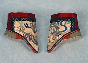 How in the bleep do you wear these?    Chinese Lotus Slippers, c. 1900