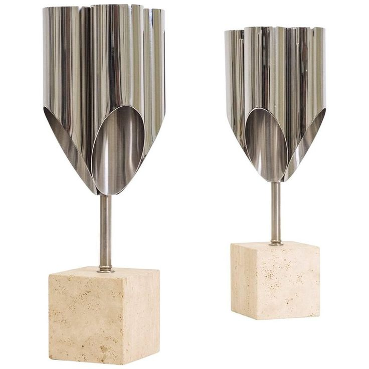 Pair of Maison Charles Steel and Travertine Table Lamps, Late 1960s | From a unique collection of antique and modern table lamps at https://www.1stdibs.com/furniture/lighting/table-lamps/