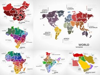 Maps infographic collection pack with World Map, China, Brazil, Africa, India and Middle East puzzle illustrations