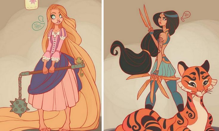Les princesses Disney en guerrières de charme