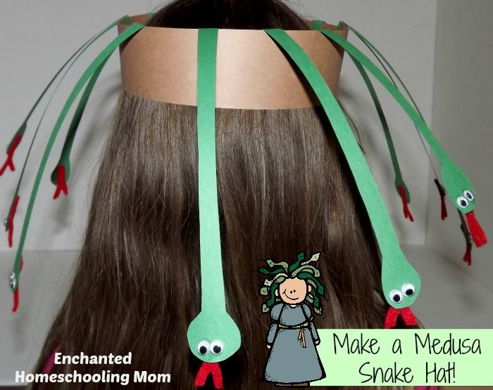 Make a Medusa Snake Hat - Enchanted Homeschooling Mom - includes a lot of other Greek Myth ideas based off the Percy Jackson books