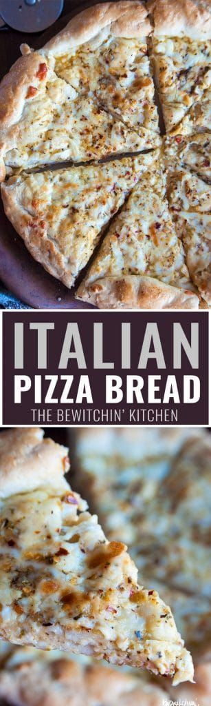 Italian Pizza Bread Recipe - One of my favorite appetizer or side dishes ever! A homemade, soft pizza crust with zesty Italian salad dressing, garlic, parmesan, and mozzarella. Add chicken to make it for dinner, or bring it to your potluck or party! #italianpizzabread #zestyrecipes #thebewitchinkitchen #pizzabread #pizzabreadrecipes #appetizerrecipes #partyrecipes