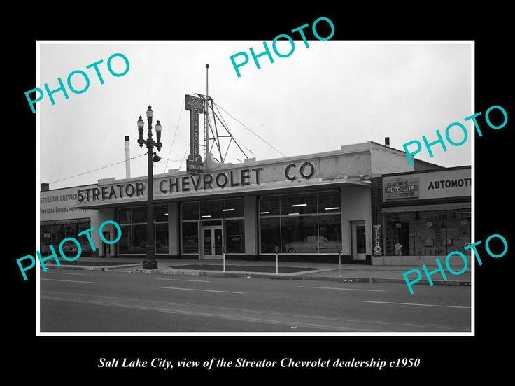 OLD LARGE HISTORIC PHOTO OF SALT LAKE CITY, STREATOR CHEVROLET DEALERSHIP c1950 | eBay