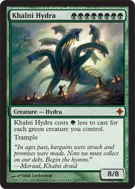 Magic: the Gathering - Khalni Hydra - Rise of the Eldrazi by Wizards of the Coast. $5.99. A single individual card from the Magic: the Gathering (MTG) trading and collectible card game (TCG/CCG).. This is of Mythic Rare rarity.. From the Rise of the Eldrazi set.. Magic: the Gathering is a collectible card game created by Richard Garfield. In Magic, you play the role of a planeswalker who fights other planeswalkers for glory, knowledge, and conquest. Your deck o...
