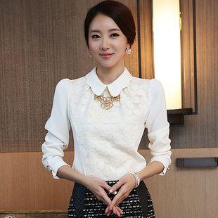New 2014 spring women blouses& shirts women clothing fashion chiffon white leisure long sleeve big size slim blouse