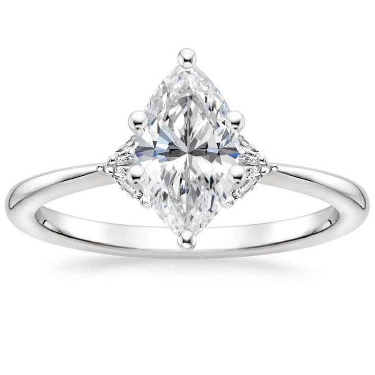 Marquise Cut Faye Diamond Engagement Ring – 18K White Gold (Setting Price)