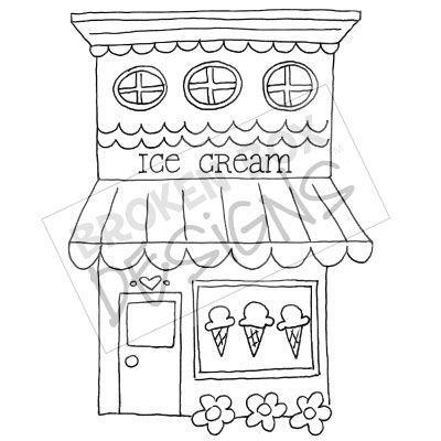 Boutique Buildings: Ice Cream Shop - Hand drawn clipart for sale...