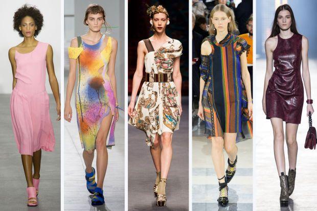 From left to right: J JS Lee, Christopher Kane, Antonio Marras, Sacai, and Versace #asymmetricalneckline #springfashion #springfashion2016