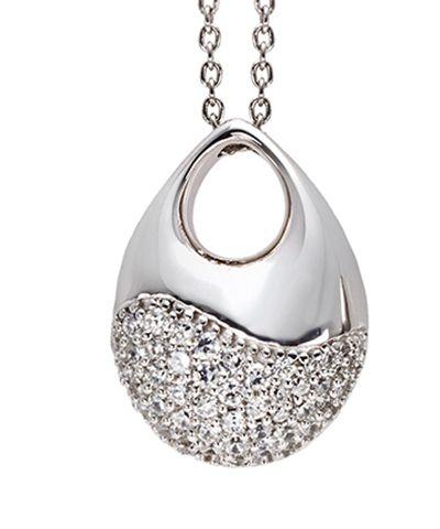 Ciondolo in argento e zirconi bianchi incassati a mano. Made in Italy http://www.argentoro.it/it/collane/19