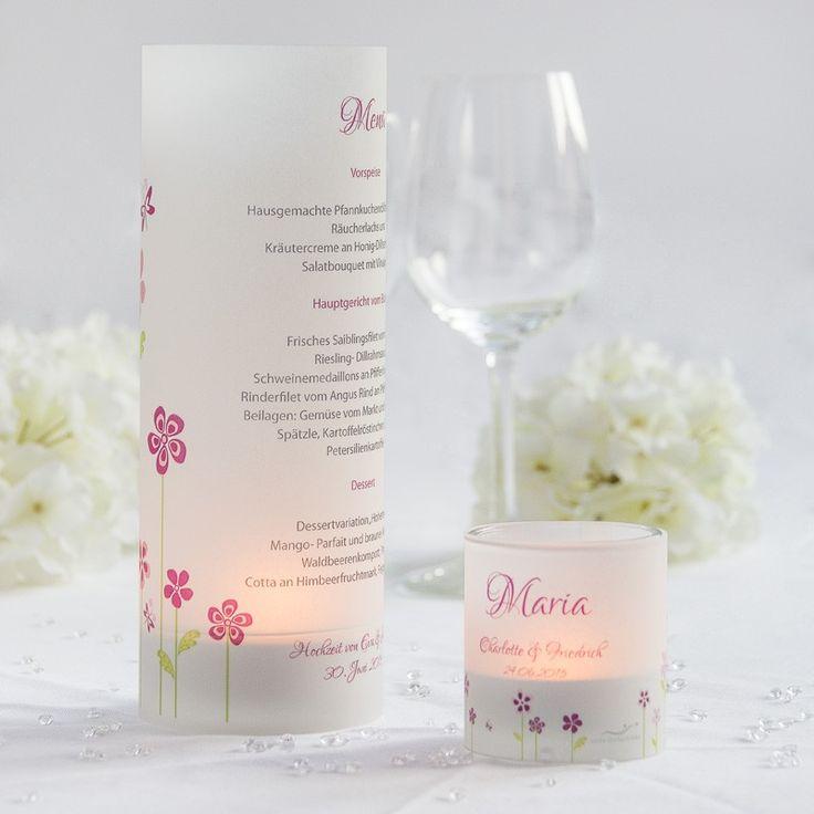 """Windlicht """"Blumenwiese"""" als Menükarte und als Platzkarte für die Hochzeit. #Windlichttischkarten"""