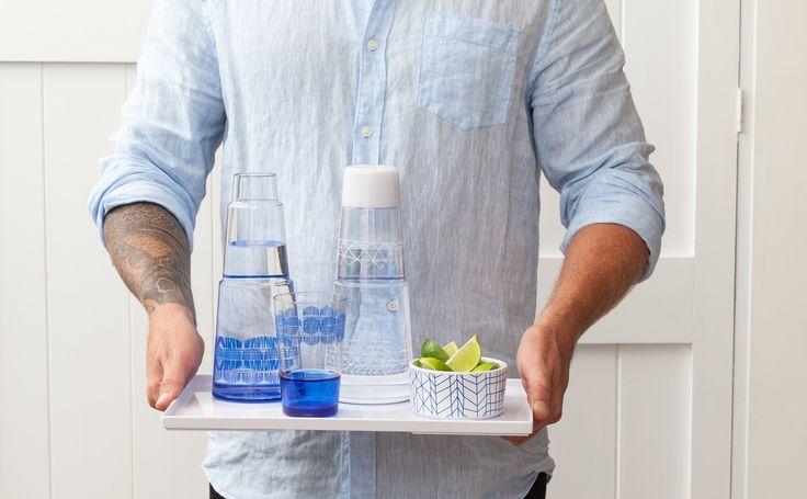 blue carafe for the nightstand #blue #decor #design #homedecor #bzyoo #homewares