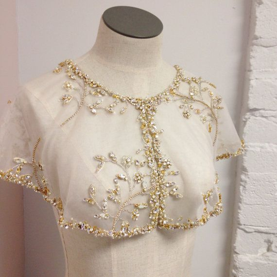 Swarovski Bridal Capelet Crystal and Silk by HelenaNoelleCouture