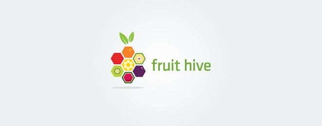 Creative Fruit themed Logo Designs fruit hive