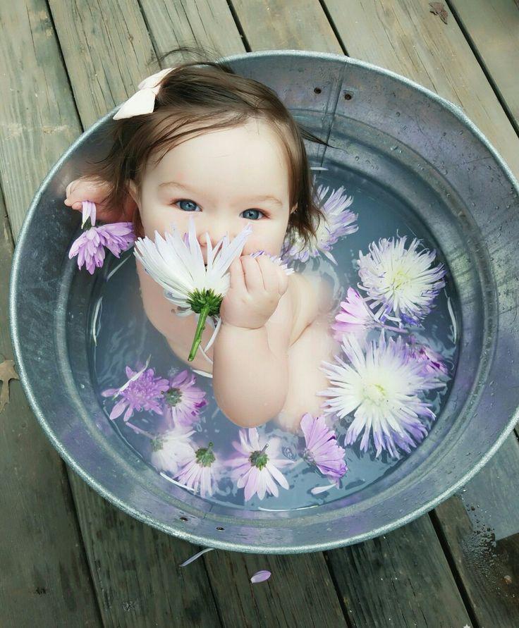 Milk bath photography  -Magnolia Jane  7 months old  Breastmilk bath, milk bath, baby girl, 7 months. Magnolia flower bath. Infant photography