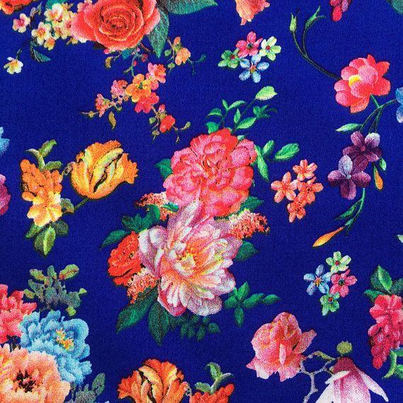 Viscose Royal blue floral patterned fabric dressmaking