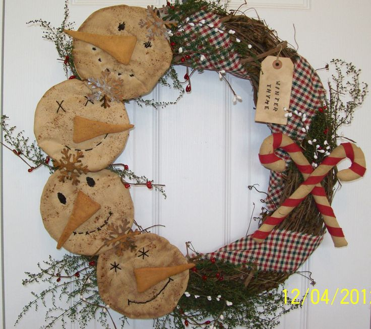 """This would make a darling Kitchen wreath! Looks like cookies...hot out of the oven! Primitive Christmas Winter Country Folk Art Snowman Wreath """"Winter Thyme"""""""