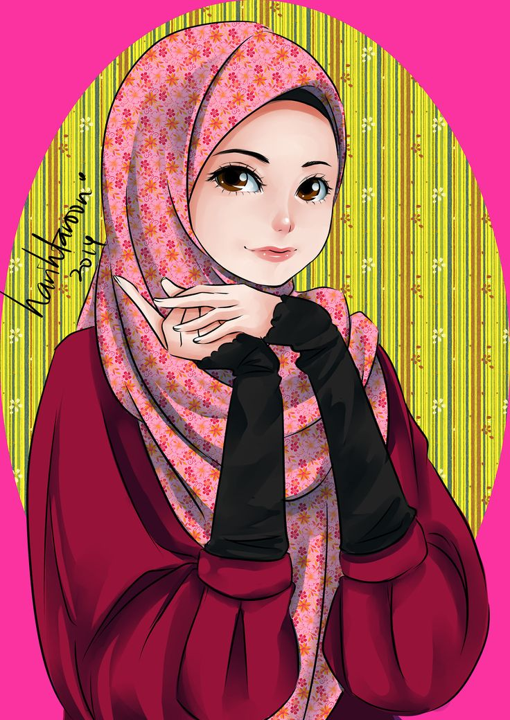 Ana Muslim fan art… tool: Paint tool sai ana muslim has a cute face plus cute pose … (>o<)/