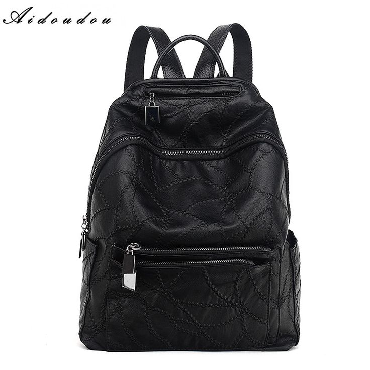 AIDOUDOU Brand Backpacks High Quality Women Bags Soft Sheepsikn Leather Student School Bag For College Students Travel Mochila