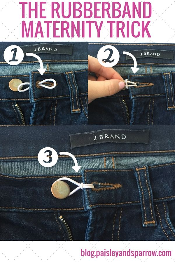 The rubberband maternity trick. Wear your non-maternity pants longer! www.paisleyandsparrow.com