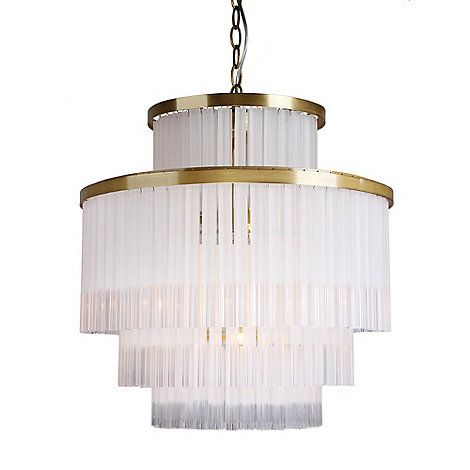 This chandelier offers a contemporary take on a classic design. Hanging from a gold coloured frame, it features tiered glass bars with a combination of clear and frosted finishes. Ideal for the dining room or lounge, it can be used with dimmer switches to adjust the light level to suit the ambience of a room.