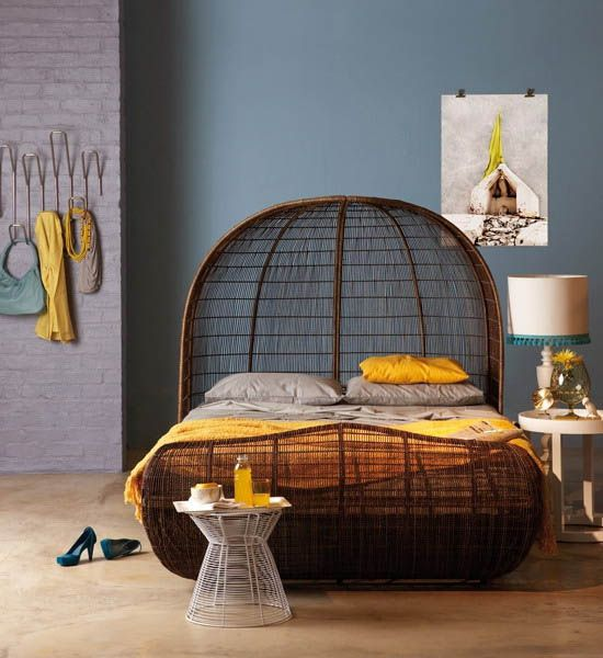 blue wall paint color, african bed made of wicker and yellow bedroom decor accessories