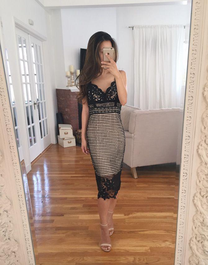 modcloth crochet lace little black midi dress extra petite