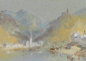 Joseph Mallord William Turner Paintings, On the Mosel - Bernkastel, Kues and The Landshut, Germany