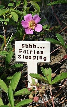 Shhh... Fairies Sleeping - Little Sign Marker Stake for Garden, Plant Pot or Terrarium - Made to Order on Etsy by Sunshine Ceramics