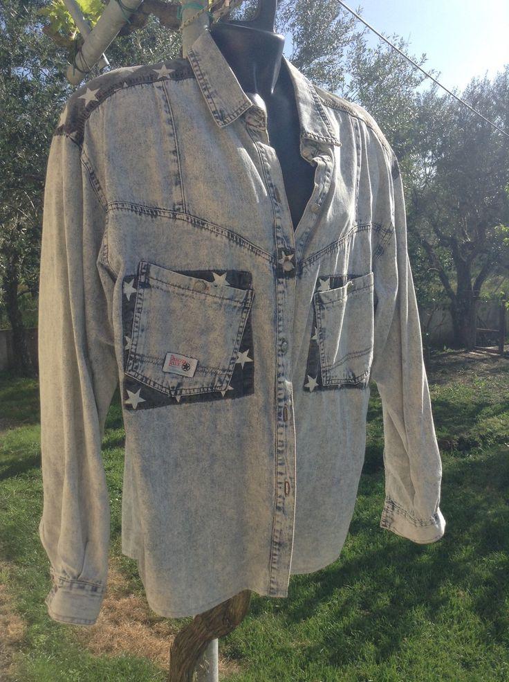 FAB 80's 'Dakota Blue' Denim Jean button down top, star design, size medium, original 80's, egst, Greece by GirlyVintageByDeJaVu on Etsy