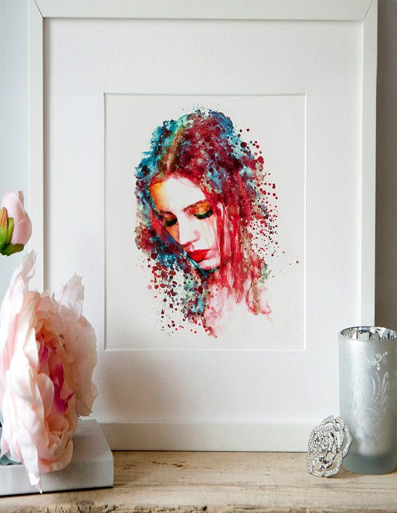 Sad Woman Watercolor painting Wall art Girl by Artsyndrome on Etsy