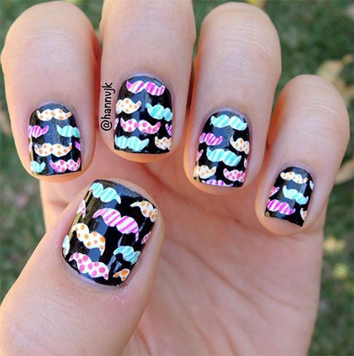 20 + Cool Mustache Nail Art Designs, Ideas, Trends & Stickers 2014 #prom Amazing Mustache Nails