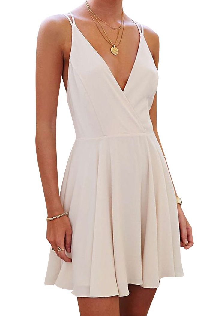 Spaghetti Strap Backless Cross Solid Color Dress WHITE: Summer Dresses | ZAFUL