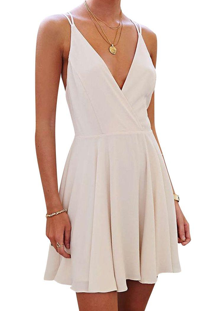 Spaghetti Strap Backless Cross Solid Color Dress WHITE: Summer Dresses | ZAFUL