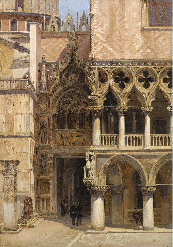 Antonietta Brandeis (Czech, 1849-1920) - Porta della Carta, Doge's Palace, Venice. Oil on board 34,5 x 24 cm. 1886.
