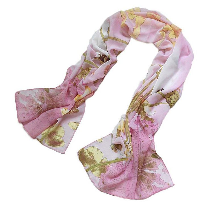 Pretty Women's Fashion Chiffon Long Pink Wrap Shawl Beach Scarf - Lotus Flowers