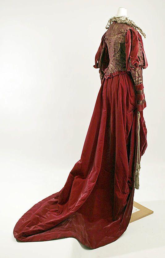 Costume (Fancy Dress)    Date:      1890s  Culture:      American  Medium:      silk, metallic  Dimensions:      (a) Length at CB: 19 in. (48.3 cm) (b) Length at CB: 64 in. (162.6 cm)  Credit Line:      Gift of Henri Bendel II, 1955  Accession Number:      C.I.55.1.9a, b
