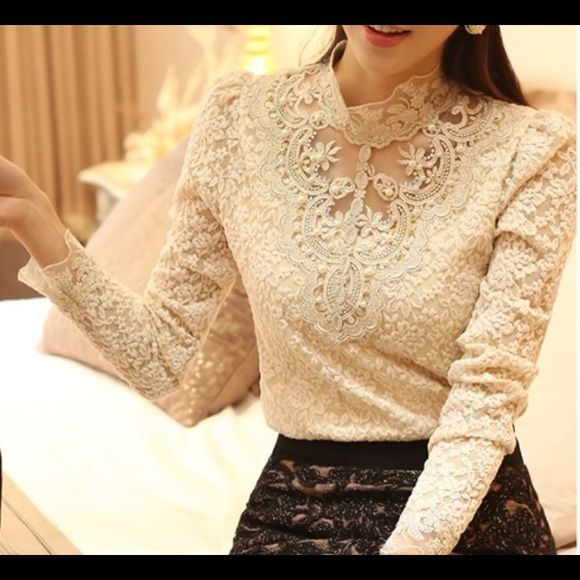 Ivory vintage lace top Timeless ivory vintage lace top with intricate designs! Please do not buy from this listing! Comment your size and I will make a listing for you!! Tops Blouses