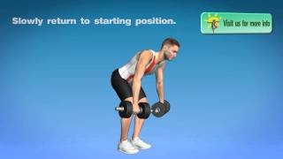 Weights back workout: exercises with dumbbells at home -- training for lats and biceps..