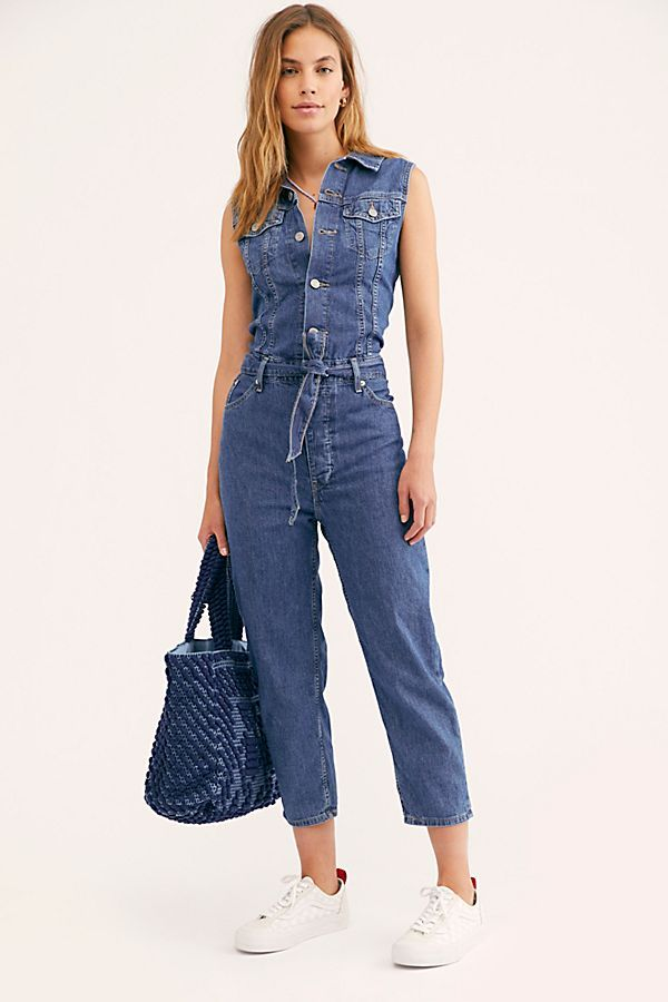 Whitive Womens Sleeveless Denim Single Breasted Jumpsuit Playsuit