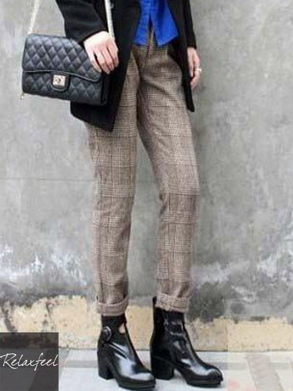 Relaxfeel Women's Brown Pants Tartan Plaid With Buttons Trousers - New In