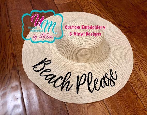 Beach Hat Personalized Straw Hat Floppy hat Cruise Hat Straw floppy Beach Hat Sun hat Beach Please Embroidered  floppy Beach Hat