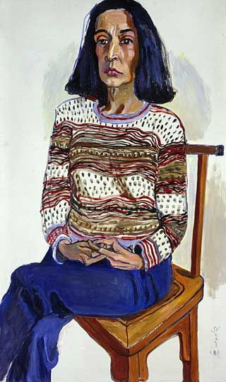 Marisol by Alice Neel, 1981, Oil on Canvas, 42 x 24 inches / 106.7 x 61 cm   Honolulu Academy of Arts