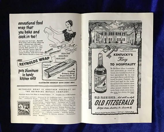 Three Louisville Amphitheatre programs from the 1949 production season. This is the amphitheatre now known as Iroquoi Amphitheater in Louisville, Kentucky. Each of the programs is full of wonderful old advertisements. One program has ticket stubs tucked inside-admission was only 60