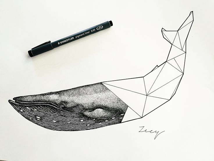 • Abstract Whale • Dot drawing • Black ink