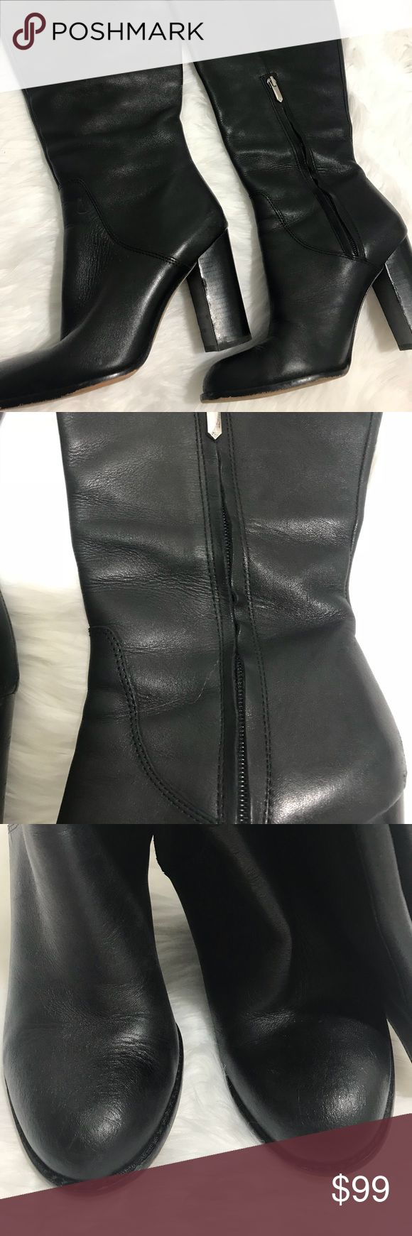 "Sam Edelman Regina2 wide calf boots 4.5 heel, leather, 8m size. Zipper ankle. Calf circumference 16"". Boot shaft 16.5"". Normal wear and tear . 1015 Sam Edelman Shoes Heeled Boots"