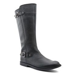 Black Leather Girls Boots