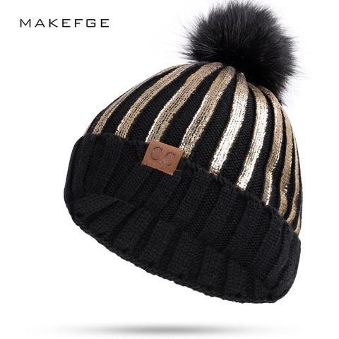 4e3563ab9fc Hot New Stamping winter hats for women knit Pom Poms hat cap CC Brand  Beanie Hat LadiesThicken Hedging Warm Skullies Female Bone